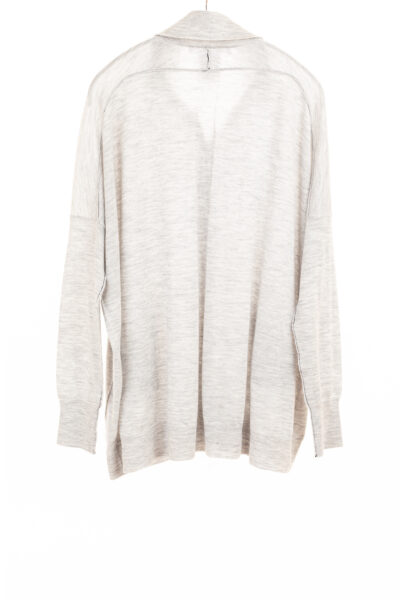 Paychi Guh | Collared Cardigan, Pale H Grey, 100% Worsted Mongolian Cashmere