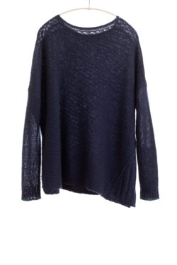 Paychi Guh | Dreamy Reversible Pullover, Navy/Teal, 100% Dreamy Cashmere