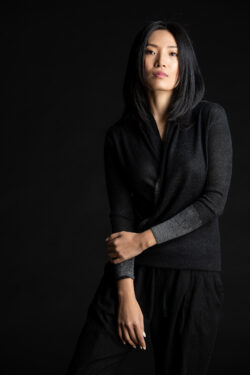 Paychi Guh | Printed Wrap Top, Black, 100% Worsted Cashmere