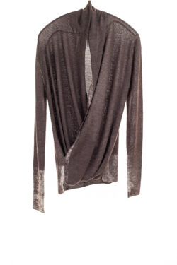 Paychi Guh | Printed Wrap Top, Chocolate, 100% Worsted Cashmere