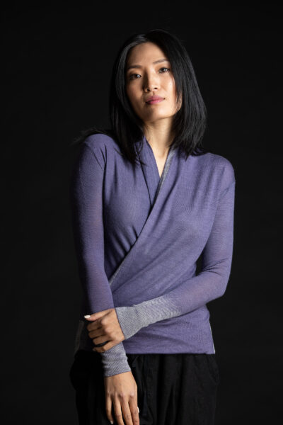 Paychi Guh | Printed Wrap Top, Purple, 100% Worsted Cashmere