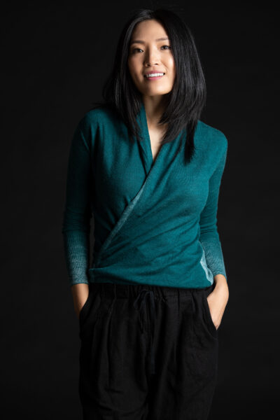 Paychi Guh | Printed Wrap Top, Teal, 100% Worsted Cashmere