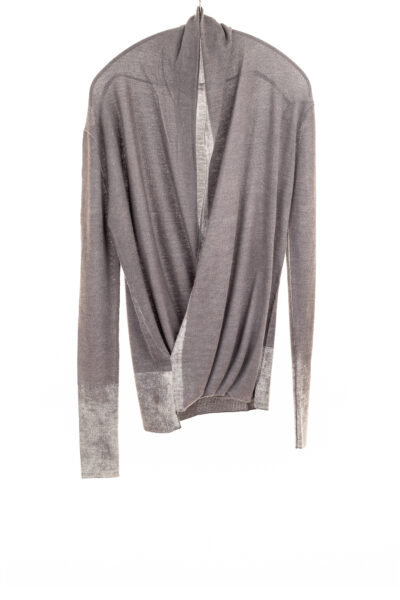 Paychi Guh | Printed Wrap Top, Thunder, 100% Worsted Cashmere