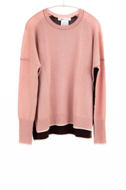 Paychi Guh   Contrast Crew, Ash Rose/Currant, 100% Mongolian Cashmere