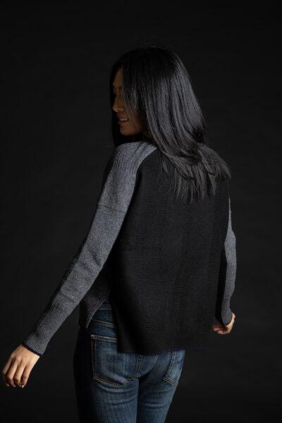 Paychi Guh | Contrast Crew, Grey Speckle/Black, 100% Mongolian Cashmere