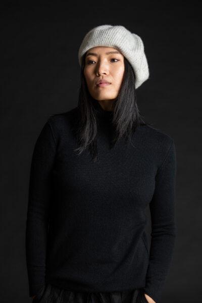 Paychi Guh | Beret, Snow Speckle, 100% Cashmere