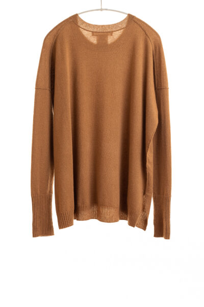 Paychi Guh | Relaxed Luxe Crew, Camel, 100% Baby Cashmere