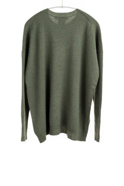 Paychi Guh | Relaxed Luxe Crew, Moss, 100% Baby Cashmere