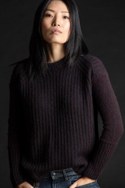 Paychi Guh | Double Dreamy Crew, Shiraz/Black, 100% Dreamy Cashmere