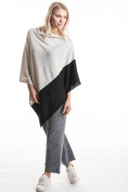 Paychi Guh | Block Poncho, Snow Speckle/Black, 100% Mongolian Cashmere