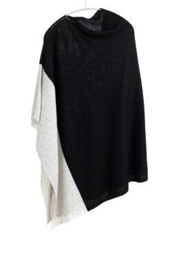 Paychi Guh | Block Poncho, Black/Grey Speckle, 100% Mongolian Cashmere